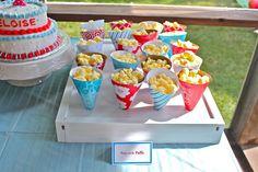 red blue vintage milk cookies birthday party popcorn cones in scrapbook paper