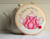 Embroidery hoop teacups stack freehand machine embroidery. £25.00, via Etsy.