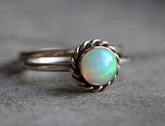 Ethiopian opal ring - Stackable ring - Round ring - Gemstone ring - Bezel ring - October birthstone - Gift for her $140.00 USD