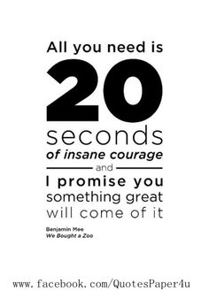 All you need is 20 seconds of insane courage | Inspirational #Quotes