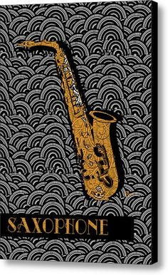 Saxophone  Swing Canvas Print / Canvas Art By Cecely Bloom