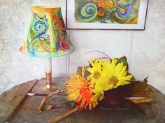 Original Art Clip on Lamp Shade Hand Painted by KaGeyWonderworks