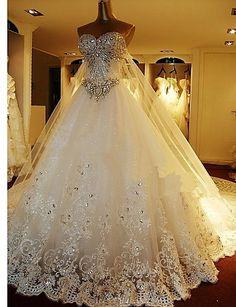 Sweetheart Floor length Organza Wedding Dresses