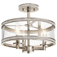 Kichler Lighting Angelica 13-in W Polished Nickel Clear Glass Crystal Accent Semi-Flush Mount Light