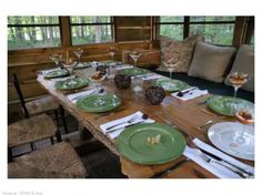 """reminds me of growing up in michigan - love the huge picnic table in a cabin!!   """"Throw your own cabin dinner party - rustic and elegant. Find this home on Realtor.com"""""""