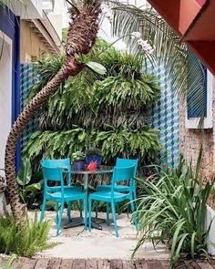O cantinho entre a cozinha e a sala de reuniões do escritório da paisagista Catê Poli ganhou mesa e cadeiras da Tok & Stok e um jardim vertical com samambaias e barbas-de-serpente intercaladas. Nas laterais, ladrilhos hidráulicos da Ladrilar. Do lado esq., palmeira fênix com aspargos-pluma na base. À dir., íris. Foto Gui Morelli/Editora Globo @cate_poli_paisagismo #plantas #paisagismo #jardim #garden #gardening #acaradecasaejardim #landscape #gardening #jardinagem #dica #dicasdepaisagismo…