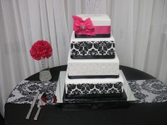 Damask Black and White with Fushia AccentsWedding Cake