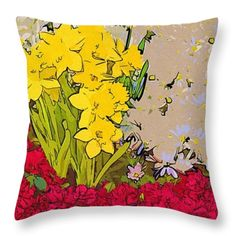 Art Of Flowers Throw Pillow #flowers #art #poster #gifts