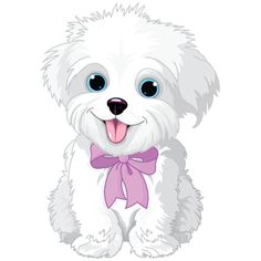 Clipart Cute Bichon Frise Or Maltese Puppy Dog Wearing A Pink Bow - Royalty Free Vector Illustration by Pushkin Cute White Puppies, Cute Dogs, Free Vector Illustration, Dog Illustration, Lap Dogs, Dogs And Puppies, Puppy Clipart, Puppy Drawing, Puppy Images
