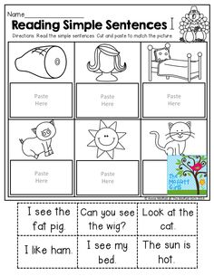 Reading Simple Sentences (cut and paste to match)! Reading Intervention, Reading Centers, Teaching Reading, Reading Comprehension, Teaching Aids, Learning, Reading Lessons, Reading Strategies, Simple Sentences