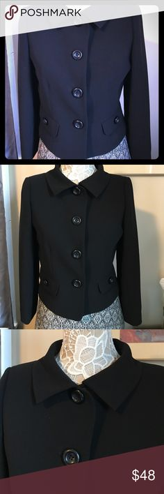 TAHARI black suit jacket This beautiful chic jacket is ready for that new job you always wanted, now you got it but not enough jacket, well made and just got back from the cleaners. Size petite 8p Tahari Jackets & Coats Blazers