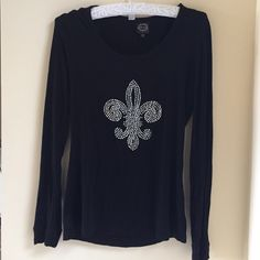 Black Fleur-De-Lis rhinestone top Long sleeve fleur-de-lis rhinestone top Tops Tees - Long Sleeve