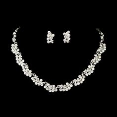Silver Plated Rhinestone Cluster Bridesmaid, prom and MOB Jewelry set!