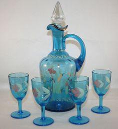 blue, enamel decanter and 4 cordials, dugan? Wine And Liquor, Wine And Beer, Crystal Decanter, Wine Decanter, Blenko Glass, Punch Bowl Set, Cordial, Glass Collection, Bottle Art