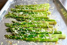 Fresh Roasted Asparagus ~ Olive Oil, fresh lemon juice, salt and pepper.  Finish off with freshly grated Parmesan.  Spring is on the way!