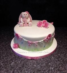 Rabbit number one cake with bunting and roses  Carole's celebration cakes and birthday cakes | Children