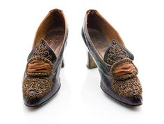 """Bronzed leather Colonial dress shoe, c. 1915. The """"buckle"""" is ornamented with a silk ribbon and cut steel beading. Marked """"Walkover Boot Shop"""". From the collections of the Charleston Museum."""