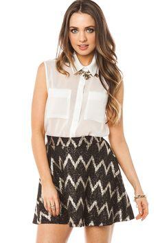 Flickering Lights Skirt / ShopSosie #metallic #silver #chevron #pattern #skater #skirt #shopsosie