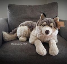 PlayKids Wolf Plush Size Ref. Here's a better picture of the PlayKids wolf and also a size ref as to how big he is. Two people can fit in that chair at the same time but he takes up the whole thing, lol! Wolf Stuffed Animal, Cute Stuffed Animals, Big Plush, Giant Plush, Pet Wolf, Wolf Kids, Wolf Plush, Cute Baby Boy Outfits, Mermaid Room