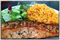 Salmon with sweet potato pasta