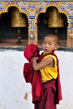 young monk at monastery in Bhutan