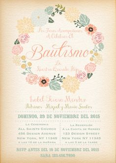 Items similar to Printable-Digital-Invitation-Baptism-Baptism Invitation-Christening-Girl-Flower Wreath-Vintage feel-Pink-Custom-Personalize on Etsy Christening Invitations Girl, Christening Party, Digital Invitations, Party Invitations, Vintage Baptism, Baby Showers, Première Communion, Godparent Gifts, Baby Girl Baptism