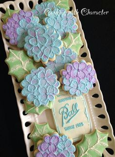 Cookies with Character ball mason jar flowers