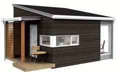 Modell: Noa 101. Firma: Noa hytter. Størrelse: 23 m². Pris: 217 000 kroner. Innhold: Sengeplasser for 4¿6 personer. Hjørnevindu fra gulv til tak gir god romfølelse. Det karakteristiske svalgangstaket gir overbygget uteplass og en utebod for vedlagring. Kan brukes som anneks eller liten jakt-/fiskehytte.