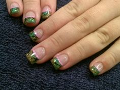 Acrylic nails with camouflage French tips