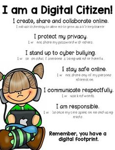 I am a Digital Citizen! Use this poster/handout when teaching digital citizenship. Elementary Counseling, School Counseling, Elementary Schools, Teaching Technology, Teaching Resources, Digital Citizenship Posters, Digital Literacy, Media Literacy, Computer Science