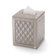 Square Quilted Tissue Box Cover in Smooth Stone - Luxury Leather Wallets, Leather Handbags, Cufflinks - British Luxury Leather Goods from Aspinal of London