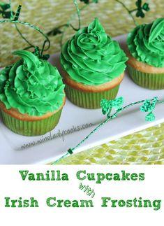Vanilla Cupcakes with Irish Cream Frosting   www.wineladycooks.com #StPatricksDay #cupcakes #Irish #Cream @wineladyjo