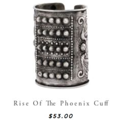 """Natalie B Jewelry Rise of the Phoenix Cuff Natalie B Jewelry Rise of the Phoenix Cuff. 4"""" studded and embossed silver cuff with hand-etched Phoenix, adjustable. I accept serious offers and can go lower on depop, merc, or pp! NO TRADES! Natalie B Jewelry  Jewelry Bracelets"""