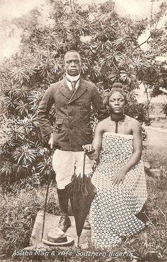 A couple in Asaba, South Eastern Nigeria, 1900 ... Black Love ... ☥ ... Black•L❤️VE