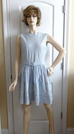 1960s Vintage Blue Gingham Dress by Malouf Co., Small to Med., Belted Summer Dress with Hem Detail, Vintage Clothing, Vintage 1960s Fashion by VictorianWardrobe on Etsy