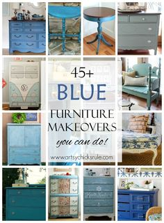 45+ BLUE Furniture Makeovers and painted furniture ideas