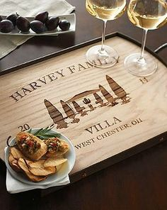 Add a personal touch to your parties with the Personalized Villa Serving Tray; made from richly detailed maple wood and carved to display your family name, city and state.