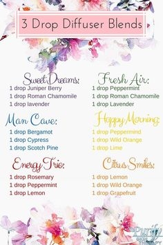 3 drop diffuser blends More 💍💕 👑 🕌 ∂α૨ℓเɳɠ🍭🍦 ∂α૨ℓα💋 Essential Oils Guide, Essential Oil Uses, Doterra Essential Oils, Pure Essential, Best Oil Diffuser, Essential Oil Diffuser Blends, Doterra Diffuser, Essential Oil Combinations, Aromatherapy Oils