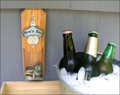 Personalized Cap Catcher Bottle Opener - Groomsmen Gift - Magnetic or Wall Mount - Clear Pouch