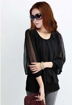 spring 2014 women blouse M-4XL ruffles sleeve women work wear plaid long sleeve black purple in stock (E-wear)