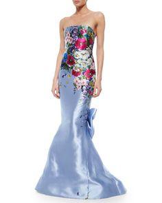 Strapless Floral-Printed Taffeta Gown, Periwinkle by Oscar de la Renta at Neiman Marcus.