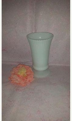 Vintage Ribbed, Scalloped, Footed, Milk Glass Flower Vase, Wedding, CenterPiece, EO Brody, Milk Glass Vase, Fluted, M5000, Cottage Chic by JunkYardBlonde on Etsy