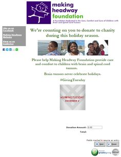 Making Headway Foundation's Giving Tuesday page 2014 submisison
