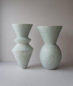 Porcelain Ceramics, Ceramic Vase, Ceramic Pottery, Stacked Pots, Ceramic Pinch Pots, Concrete Crafts, Wood Lamps, Craft Night, Contemporary Ceramics