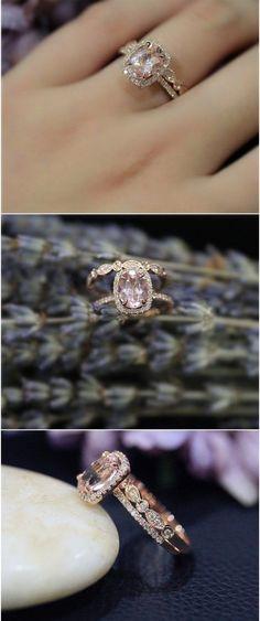 Pink Morganite Ring Set Solid 14K Rose Gold Ring Wedding Ring Promise Ring