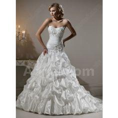 Vintage White Strapless Court Train Backless Taffeta Wedding Dresses $253