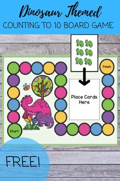 This FREE dinosaur themed resource is a fun way to practice counting 1-10. Try using this board game during small group instruction or set it up during math centers. Great for kindergarten, preschool, or homeschooling!  #dinosaurtheme #freebie #preschoolmath #kindergartenmath #homeschool