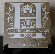 Custom Monogram Ceramic Tile 6x6. Vinyl Monogram with Family Name and Date.