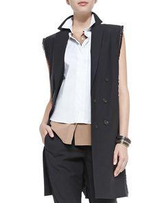 Fringe & Monili Chain Long Vest:  •Brunello Cucinelli long vest. •Fringe and monili chain trim. •Notched lapels; double-breasted. •Sleeveless. •Wool/nylon/spandex. •Silk/spandex lining.
