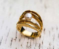 18k gold ring. pearl ring, engagement ring, wedding ring, greek jewelry, designer ring, bridal ring, love ring, textured ring, solid gold